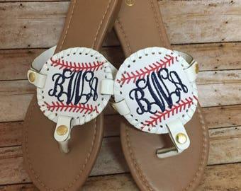 Monogrammed Baseball Medallion & Solid Black Medallion Sandals - Gifts, Summer, Flip Flops, Personalized