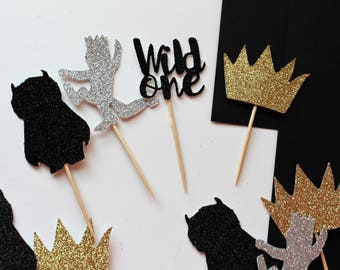 Where the Wild Things Are Cupcake Toppers,Wild One Toppers, Wild One Birthday, Tribal Baby Shower, set of 12