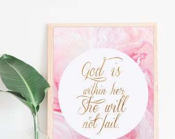 God is Within Her, She Will Not Fail Print