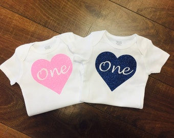 "First Birthday Heart ""One"" | Girls First birthday"