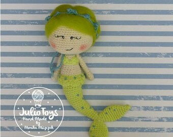 Green mermaid- crochet doll