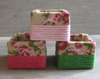 1/12th Scale Set of 3 Storage Baskets - Pink / Green