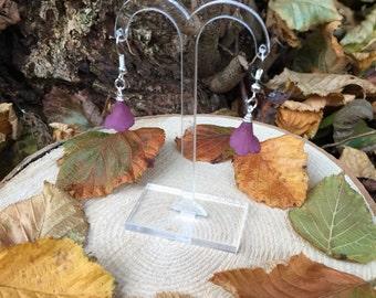 Purple Trumpet Flower Earrings