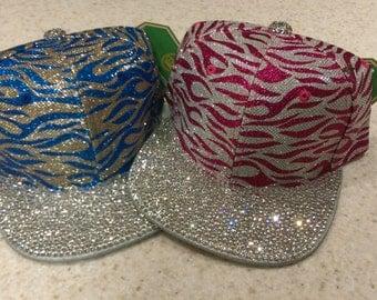 Limited Edition Blue Zebra, zebra snapback, custom hats, bling cap, Christmas gift, Birthday, silver zebra hat, glass rhinestone snapback