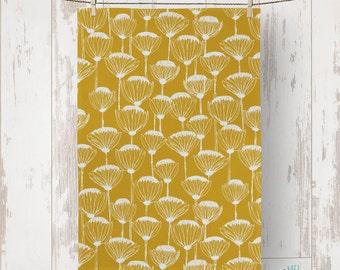 "Linen Cotton hand-drawn ""Proteas"" Tea Towel/kitchen towel - Mustard"
