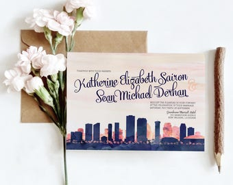 New Orleans, LA Watercolor Skyline Wedding Invitations | 4 Piece Invitation Stationery Suite | CUSTOMIZED to Match Your Wedding