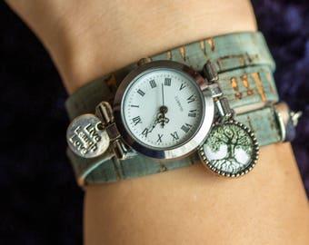 Wrap Watch, wrist watch  cork leather, bead watch, bracelet watch, real leather, wish watch, watch, Live Laugh Love