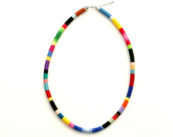 Long Colorful Fabric Necklace, Multi Color Rope Necklace, Cotton Necklace, Modern Necklace, Statement Necklace, Rope Jewelry