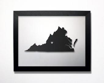 Virginia Map / Laser Cut Map / Virginia State Art / Virginia Art / Framed State Map / Virginia Gift / Wedding Gift / Anniversary Gift