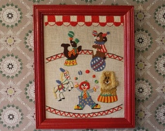 Vintage Circus Picture in Red Frame, Crewel Circus Picture, Red Clown Picture, Circus Embroidery Picture, Dancing Bear, Juggling Clown
