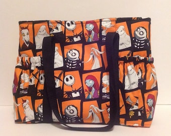 Jack Skellington tote, Nightmare Before Christmas purse, simply meant to be, Diaper bag, sleepover bag, craft bag, gift for her
