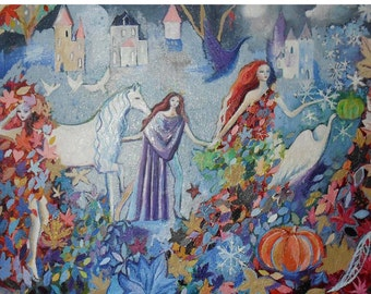 """Fairytale Art, Fantasy Art, Fairy Garden, All Hallows, folded 4 x 5.6 """" folded card, from a painting by Romany Steele"""