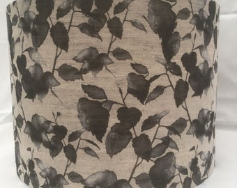 Handmade charcoal grey Camila rose printed on natural linen fabric drum lampshade