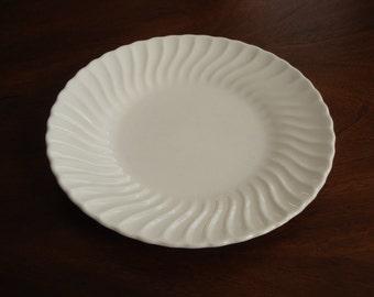 Sheffield USA Bone White 10-1/4 Inch Swirl Rim Ironstone Dinner Plates (4 Available)!