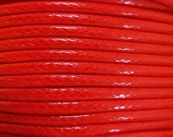5 Metres 2mm KOREAN Waxed Cotton Cord - Round FLOURO ORANGE Cotton Wax Cord - Cotton Beading Stringing Cord - Australian Seller