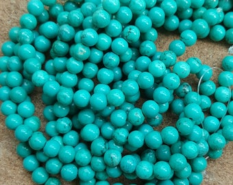"Natural Sinkiang Turquoise 6mm Round Beads, Dyed and Heated - 15.55"" Strand"