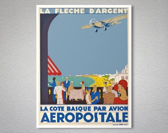 La Cote Basque Par Avion Aeropostale Vintage Poster - Poster Print, Sticker or Canvas Print