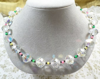Beautiful! Vintage Silver Tone Aurora Borealis Faceted Beaded Crystal Choker Necklace With Colorful Micro Beads  DL# 2265