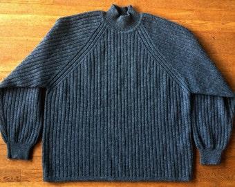 Vintage 1980s Wool Charcoal Rib Sweater