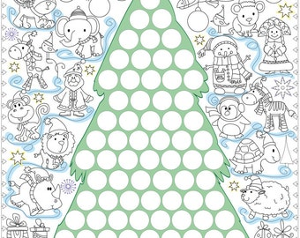 """Coloring poster """"Christmas tree with stickers"""" size 60*60 cm (1.97*1.97 ft)"""