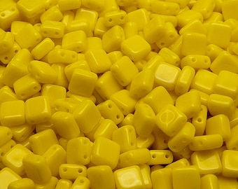 20pcs Two Hole Pressed CzechMates Glass Tile Beads 6mm Opaque Yellow