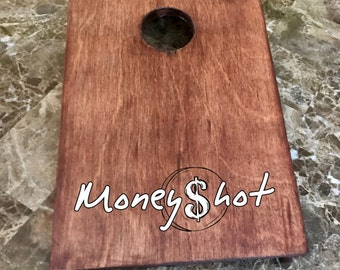 Custom Wood Stained Mini Cornhole Boards - MoneyShot Miniature Cornhole Custom Logo