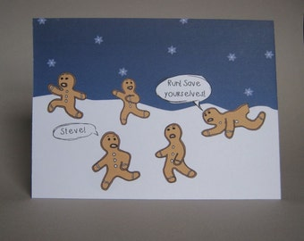 Funny Christmas card - Gingerbread Men Running for their Lives, funny holiday card, gingerbread cookies, Xmas card