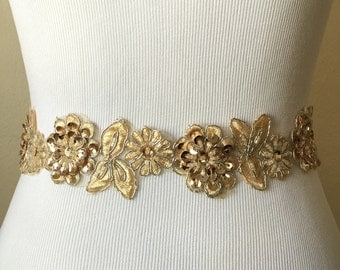 Champagne Gold Lace Beaded Bridal or Bridesmaid Sash