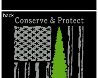 Park Ranger Thin Green Line Flag TShirt