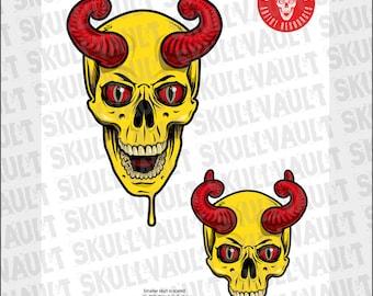Comic Book Skull Vector Illustration - Skull with Horns