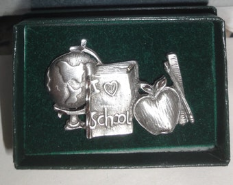 Silver Tone School Teacher/ Apple/Globe/Hat Pin