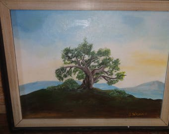Vintage Oil On Board/Lone Tree/ Signed B. Wojdace