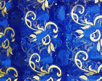 Five yards African blue and gold fabric