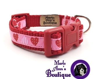 Puppy Collar / Dog Collar / XS Collar / Valentine's Day / Red / Pink / Hearts / Dog Leash / Adjustable Collar / Dog Collar and Leash Set