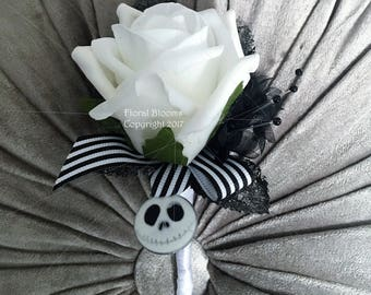 Jack skellington buttonhole in white and black- gothic weddings