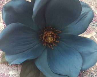 Single Large Petrol Blue Anenome Hair Flower