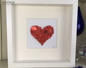Red Heart Artwork, Red Heart Picture, Button Artwork, Button Picture, Anniversary Gift, Gift for her