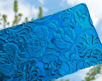 Deep Aqua Fused Glass Platter, Sushi Platter, Kiln Carved Fused Glass Platter