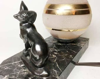 Charming French Vintage Bedside Lamp with a Fennec Sculpture - 40's
