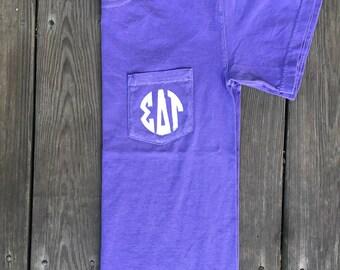 Sigma Delta Tau Comfort Colors Pocket Tee, Big Little Pocket Tee, Comfort Colors Shirt, Monogram Pocket Tee, Sorority Monogram, SDT Shirt