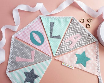 Personalised Bunting - Grey Mint And Pink Nursery Bunting - Girl's Bunting - Christening Gift - New Baby Gift - Cake Smash - Pastel Decor