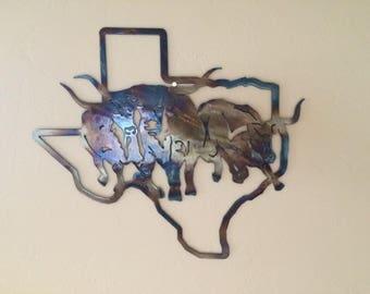 Texas State w/Texas Longhorns Metal Sculpture Wall Art Home Decor
