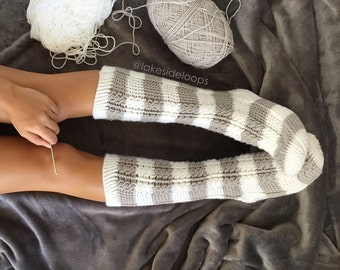 Crochet Pattern - Harlow Cable Socks by Lakeside Loops (includes 11 sizes - Baby (6 Months) through to Mens/Womens Adult sizes)