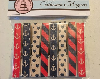 Clothespin Magnets - Nautical