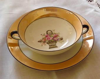 Vintage Made in Japan Lusterware Double Handled Soup Bowl with Saucer