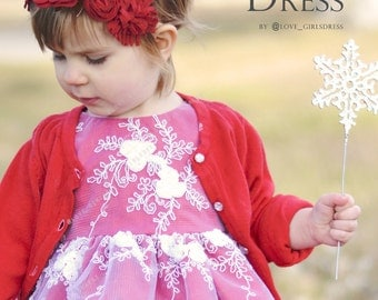 Baby holiday dress, baby christmas dress, baby floral dress, red dress