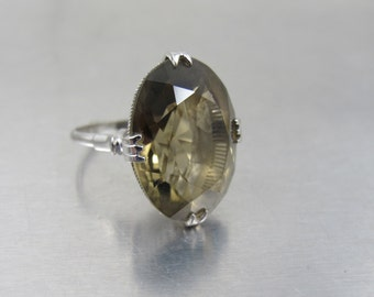 Smoky Quartz Sterling Ring, 1930s Jewelry, Oval Shaped Solitaire, Japanese Smoky Quartz Jewelry. Size 6.25