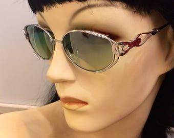 Vintage 1990s sunglasses, green lens, silver filigree frame, free shipping!