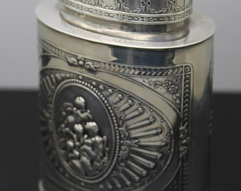 Gift Idea !!! FRENCH Art Nouveau Detailed Repousse Flowers Angels Floral Design Patterned Solid 800 Silver Tea Caddy