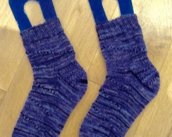 Hand knit socks blue denim